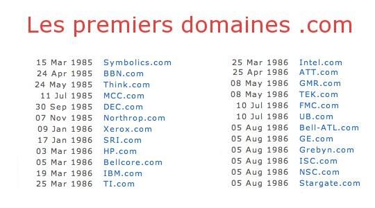 Les premiers domaine.com